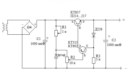 Схема блок питания транзисторного усилителя